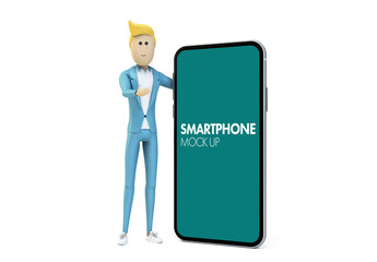 Cartoon Businessman with Smartphone Mockup