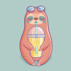 Wall Mural - Cute hand drawn sloth with lemonade.