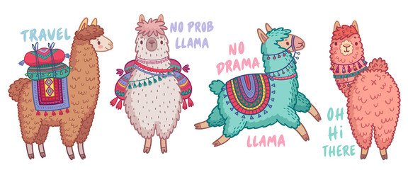 Wall Mural - Cute Lamas with funny quotes.