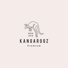 kangaroo logo vector icon illustration line outline monoline