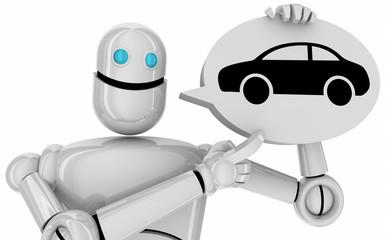 Photo sur Aluminium Dauphins Car Automobile Robot Talking Speech Bubble 3d Illustration