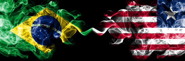 Brazil vs Liberia, Liberian smoke flags placed side by side. Thick colored silky smoke flags of Brazilian and Liberia, Liberian
