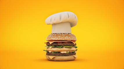 hamburger tower  3d rendering - Buy this stock illustration