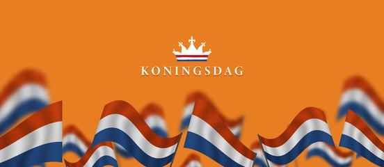 Fototapeta Koningsdag and  design template for poster, 27 april, waving netherlands flag, English translation ; King's Day