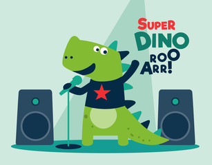 Cute dinosaur singing with microphone