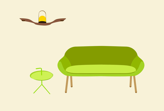 Retro Modern Mid Century Lime Color Love-seat or Apartment Couch with Round Green Metal Table and Light Lamp on Wooden Shelf on Bright Wall