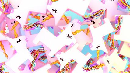 Cute pile of unicorn pinatas. 3d rendering picture.
