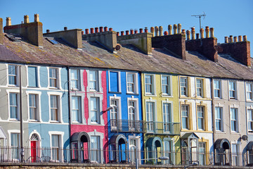 Wall Mural - Colorful row houses seen in Wales, Great Britain