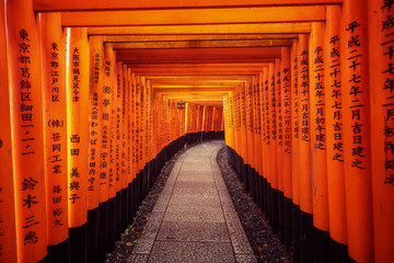 Foto op Aluminium Japan Red Torii gates in Fushimi Inari in Kyoto, Japan.