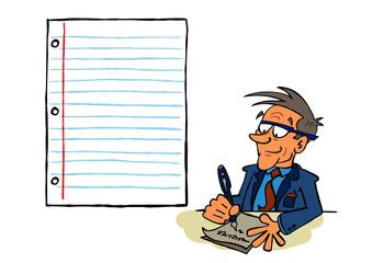 Business man senior writing a letter