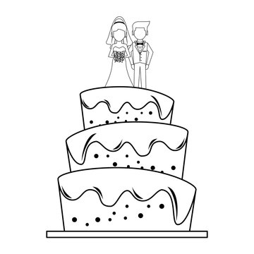 Wedding cake cartoon isolated in black and white
