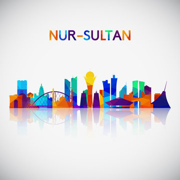 Nur-Sultan skyline silhouette in colorful geometric style. Symbol for your design. Vector illustration.
