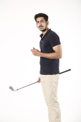 Portrait of boy standing with golf stick and golf ball. Isolated on white background.