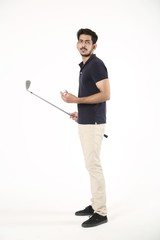 Side view picture of young boy with golf stick and golf ball. Isolated on white background.