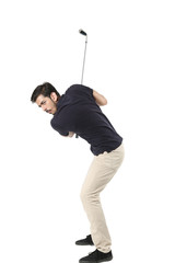 Young boy with golf stick is playing. Isolated on white background.