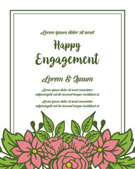 Wall Murals Retro sign Vector illustration ornate flower frame for decoration of happy engagement