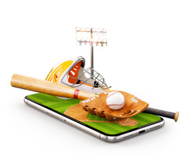 Unusual 3d illustration of a baseball stadium with bat, helmet, baseball glove and ball on a smartphone screen. Watching baseball and betting online concept.