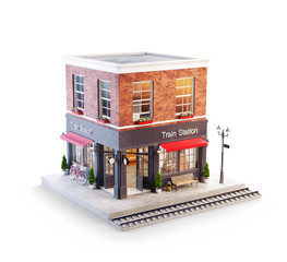 Unusual 3d illustration of a train station building