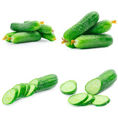 Collage of cucumber isolated on white
