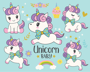 Cute little baby unicorn with rainbow and flowers vector illustration set.