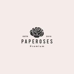 geometric paper flower rose logo vector icon illustration line outline monoline