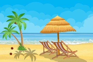 Landscape of wooden chaise lounge, palm tree on beach. Umbrella. Day in tropical place. Vector illustration in flat style