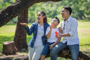 happy asian Family, parents and their children blowing soap bubbles  in park together. father, mother ,son sitting on branch of big tree  having fun and laughing outside . enjoy