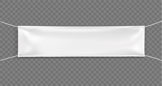 3d Empty narrow Horizontal Banner with 4 holes and ropes. Vector realistic template on transparent background for Your Design and Advertising. Awning, Textiles, PVC, Vinyl, Nylon, Banner ect. EPS 10.