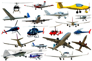 Different sports  and passenger  aeroplanes on a clean white background