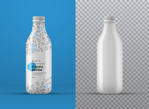 Vector realistic mockup of white plastic bottle with label.