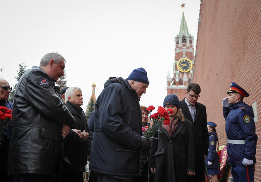 Barmin, rocket technology designer, lays flowers at the tomb of Korolyov, prominent Soviet rocket and spacecraft engineer, by the Kremlin wall to mark Cosmonautics Day in Moscow