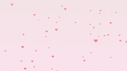 Love background with pink hearts for Valentine's Day. Light pink backgrop.