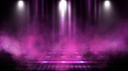 Empty scene of a show with lanterns and concrete floor. Аbstract pink and purple background lights, rays
