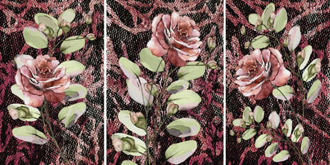 Collection of designer oil paintings. Decoration for the interior. Modern abstract art on canvas. Set of patterns with different textures and colors. Maroon roses. Wall mural
