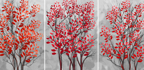 Collection of designer oil paintings. Decoration for the interior. Modern abstract art on canvas. Set of pictures with gray background. Trees with red leaves.