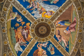 Borgia Apartments in the Vatican Museums with ceiling frescoes by Pinturicchio
