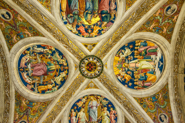 Papal Apartments in the Vatican Museums with ceiling frescoes by Raphael