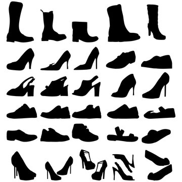 vector isolated shoe set silhouette