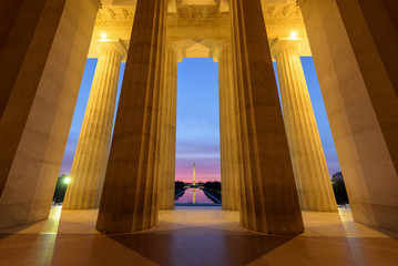 Wide angle view of Washington Monument with its reflection  from Lincoln Memorial at Sunrise, Washington DC Wall mural