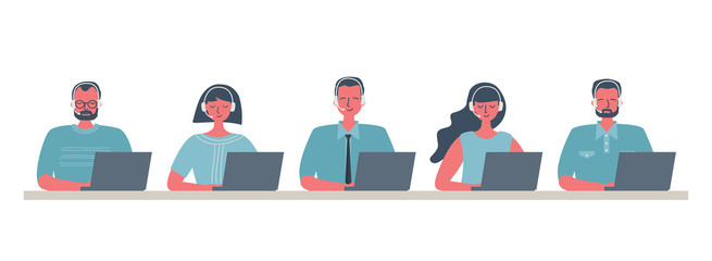 Web banner of call center workers. Young men and women in headphones sitting at the table on a white background. People icons. Funky flat style. Vector illustration.