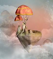 Obraz Fantasy flying mushrooms town - 3D illustration - fototapety do salonu