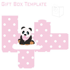 Template for baby girl panda gift box