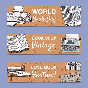 Old books set of banners vector illustration. Vintage or antique writing stationery and open book manuscript with rough paper sheets. World book day. Book shop. Printer and e-book.
