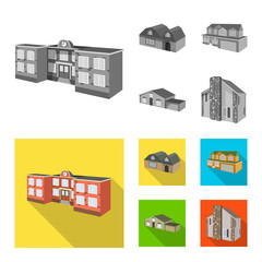 Vector design of facade and housing symbol. Set of facade and infrastructure stock vector illustration.
