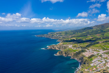 Aerial view of Atlantic coast at Vila Franca do Campo, Sao Miguel island, Azores, Portugal.. Photo made by drone.
