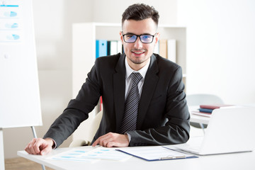 Portrait of businessman working in an office