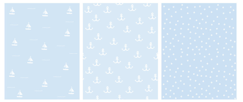 Lovely Hand Drawn Nautical Vector Patterns Set. White Anchors, Dots and Boats Isolated on a Light Blue Background. Marine Party Theme Repeatable Design. Abstract Nautical Theme Decoration.