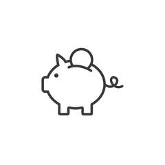 Piggy bank icon vector. Line bank symbol. Trendy flat outline ui sign design. Pictogram for web site, mobile application. Logo illustration. Eps10.