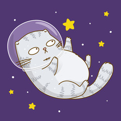 Cute scottishfold cat astronaut on starry space background