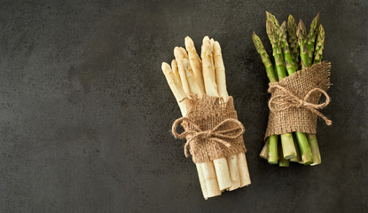 Fresh green and white spring asparagus